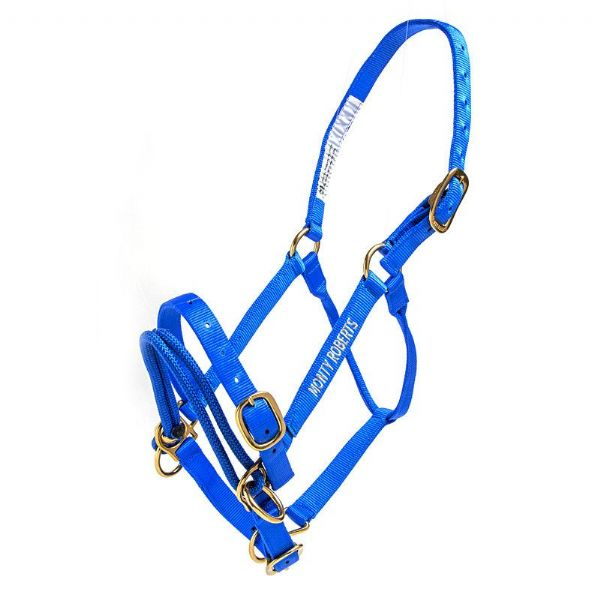 Monty Roberts Dually Schooling Halter Large Blue Nylon Headcollar with how to use it DVD